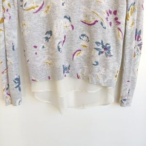 Lucky Brand Tops - Lucky Brand Gray Floral Sweater With Sheer Hem